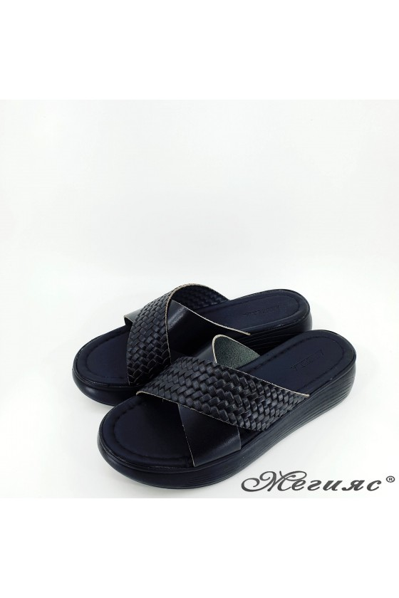 Дамски чехли от естествена кожа черни 1222