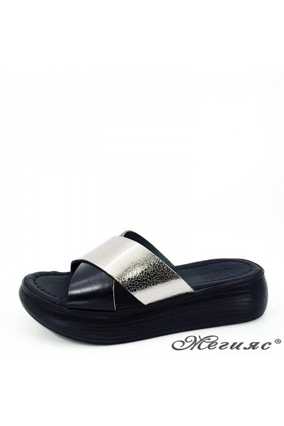 Дамски чехли от естествена кожа черни с графит 1222