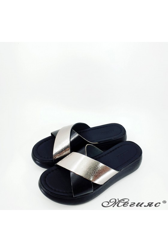 Lady flippers black+grafit leather 1222