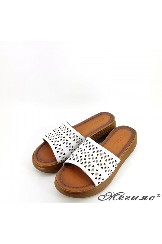 Lady flippers white leather 500