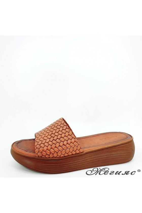 Дамски чехли от естествена кожа таба 501