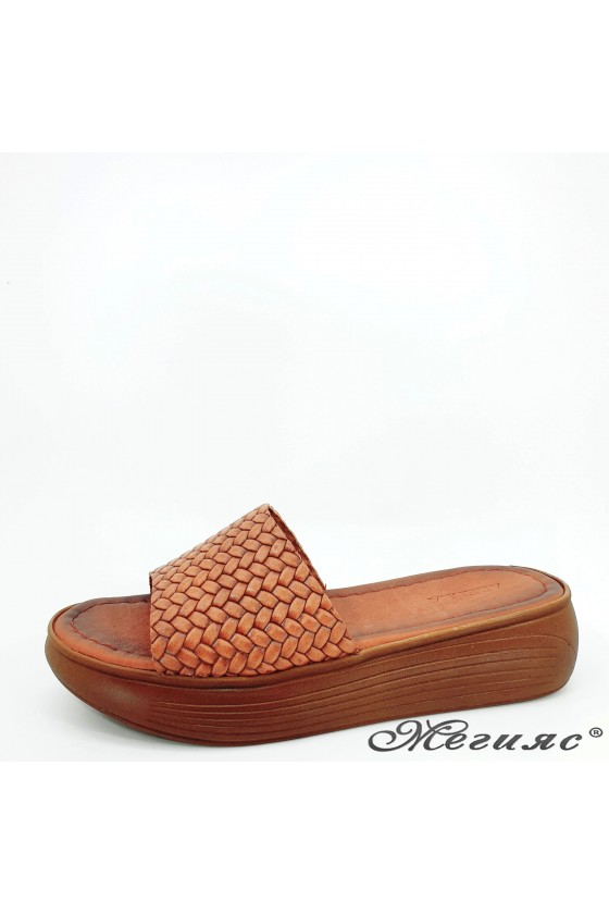 Lady flippers taba leather 501