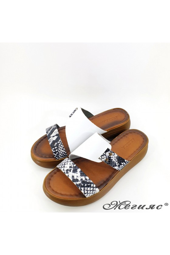 Lady flippers white leather 534