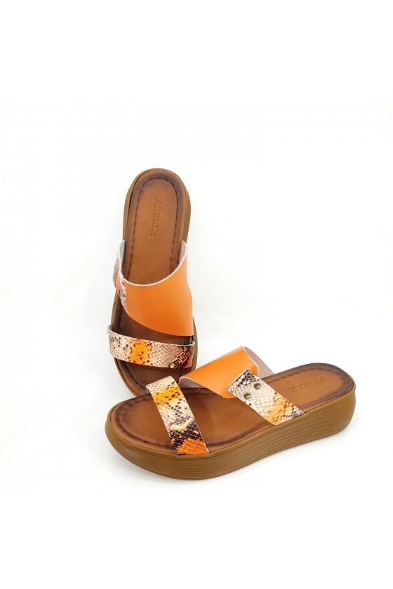 Дамски  сандали от естествена кожа оранжево със змия 534