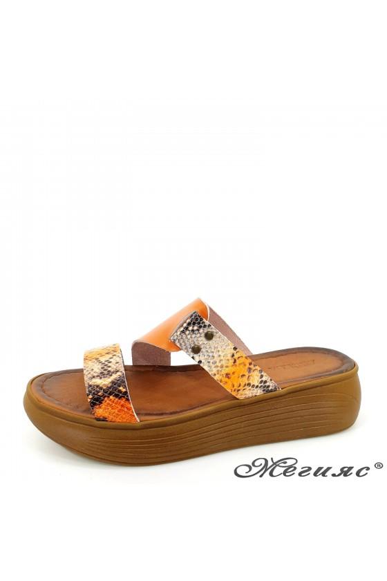 Дамски чехли от естествена кожа оранжево със змия 534