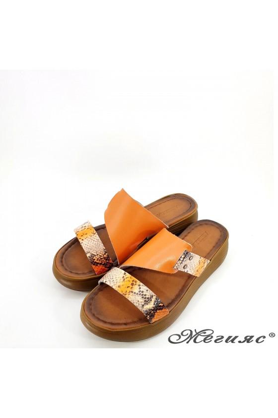 Lady flippers orange leather 534