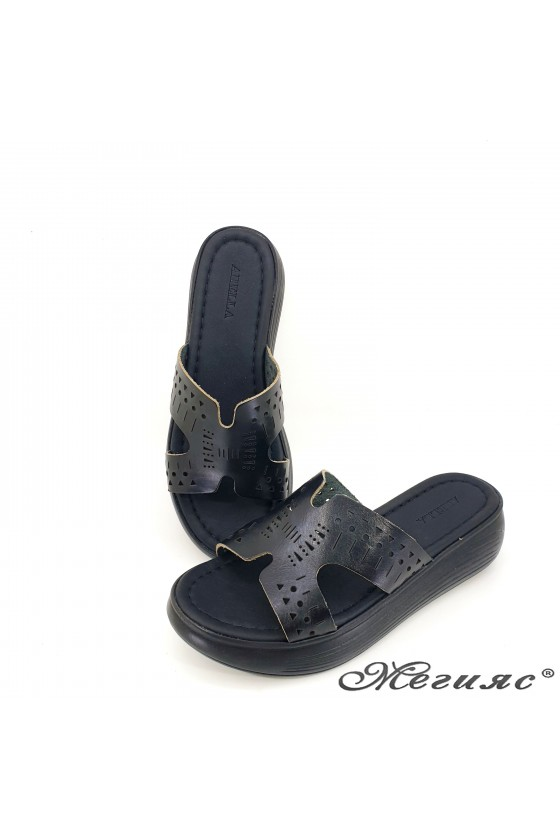 Lady flippers black leather 533