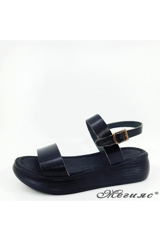 Дамски чехли от естествена кожа черни 536