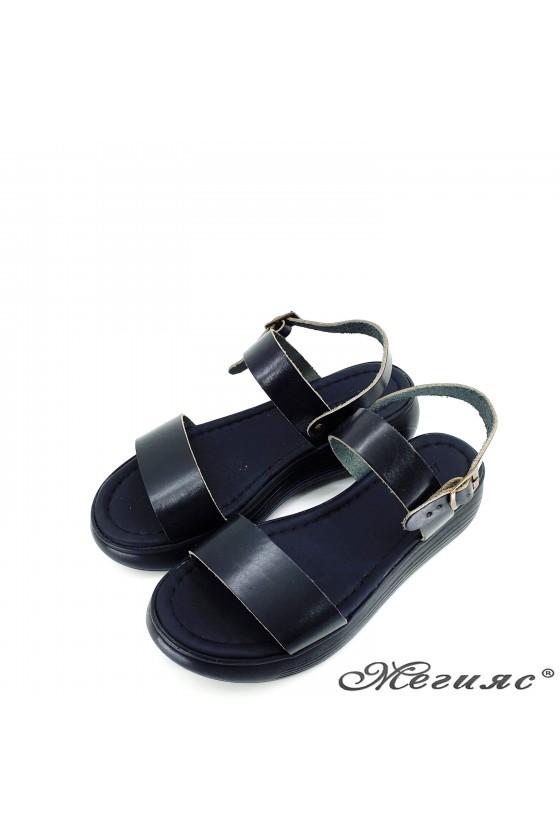 Дамски сандали от естествена кожа черни 536