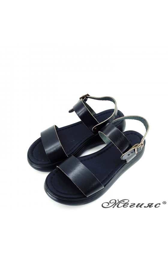 Lady flippers black leather 536