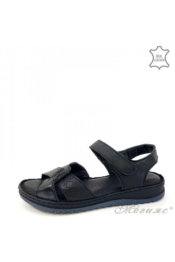 Lady sandals black leather 178