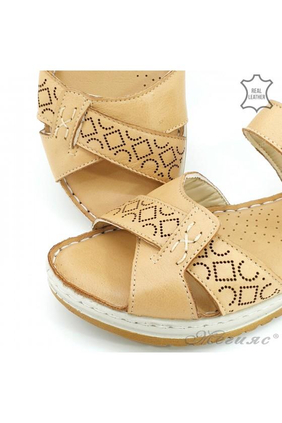 Дамски сандали от естествена кожа бежови 178