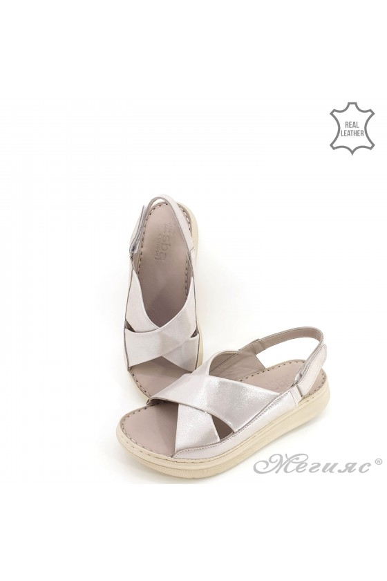 Lady sandals silver leather 462