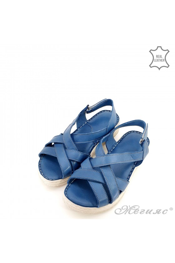 Lady sandals lt blue leather 232