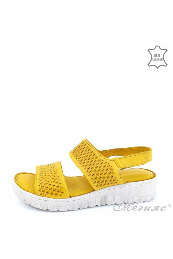Lady sandals yellow leather...