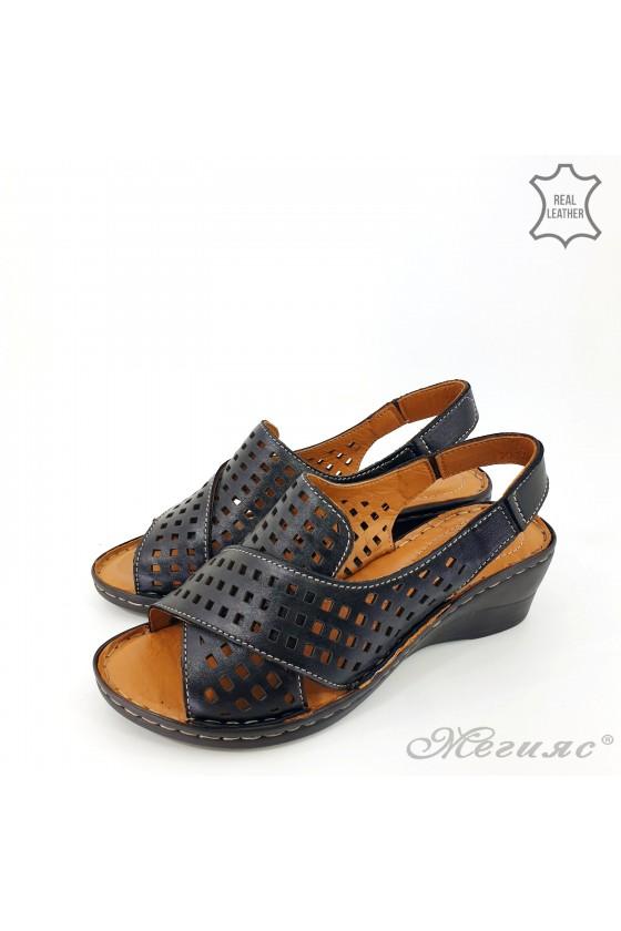 Дамски сандали  XXL от естествена кожа черни 2014-01