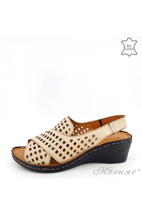 Lady sandals XXL beige leather  2014-03