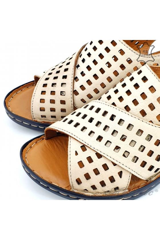 Дамски сандали XXL от естествена кожа бежови 2014-03