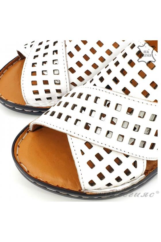 Дамски сандали  XXL от естествена кожа бели 2014-05
