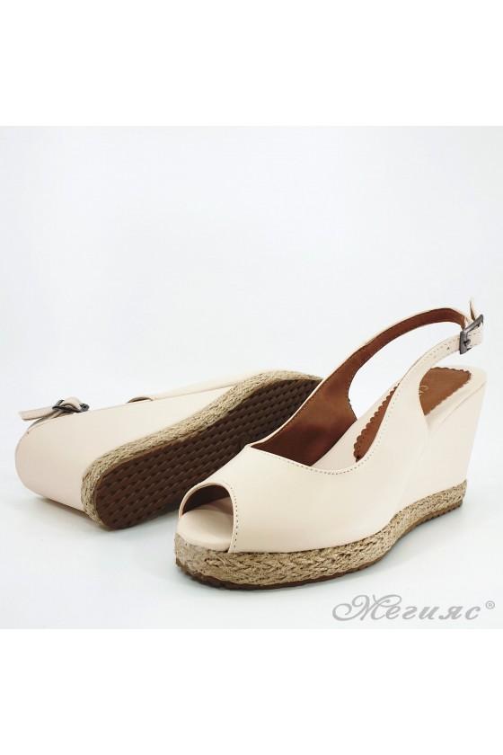 Lady sandals beige pu 116