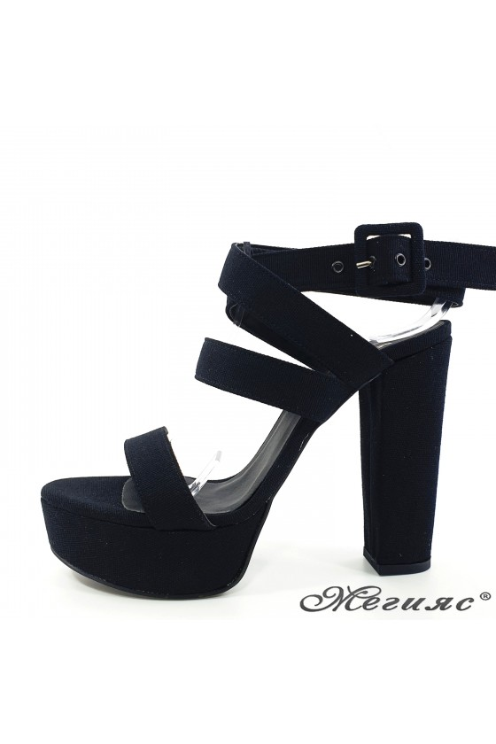Lady sandals black with...