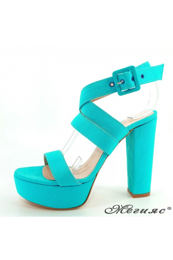 Lady sandals lt blue with high heels 470