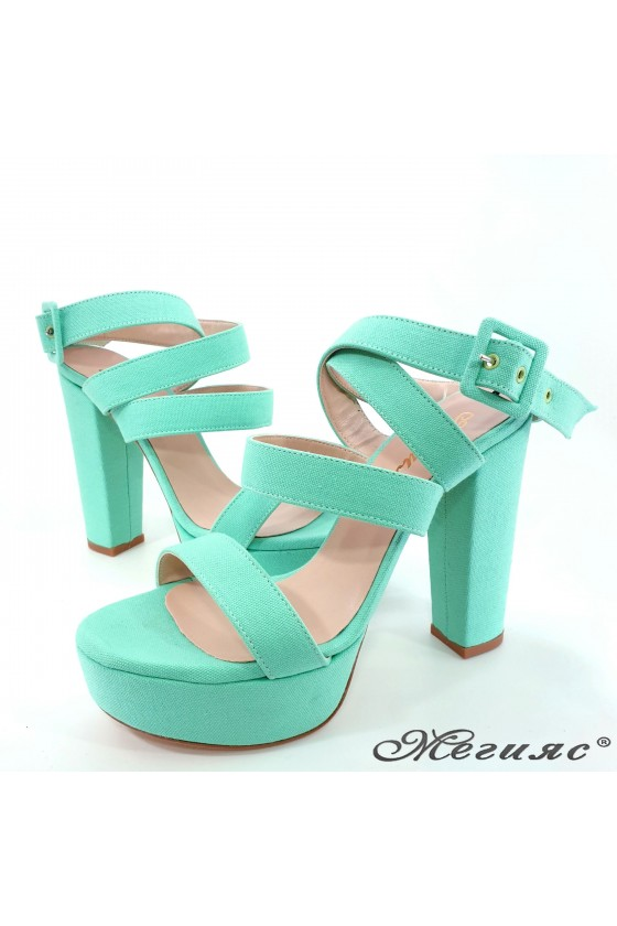 Lady sandals lt green with high heels 470