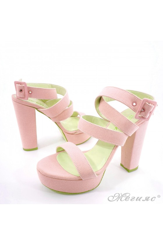 Lady sandals pink with high heels 470