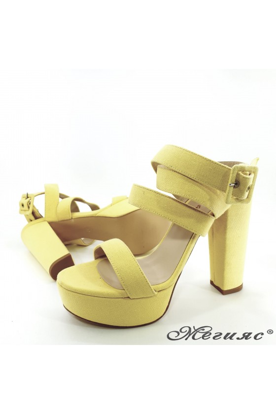 Lady sandals yellow with high heels 470