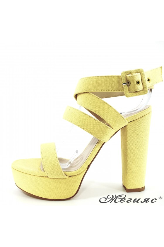 Lady sandals yellow with...