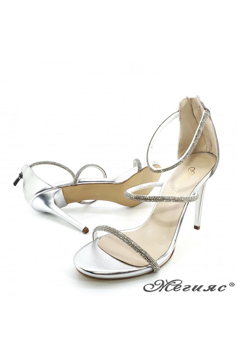 Дамски сандали сребърни 602