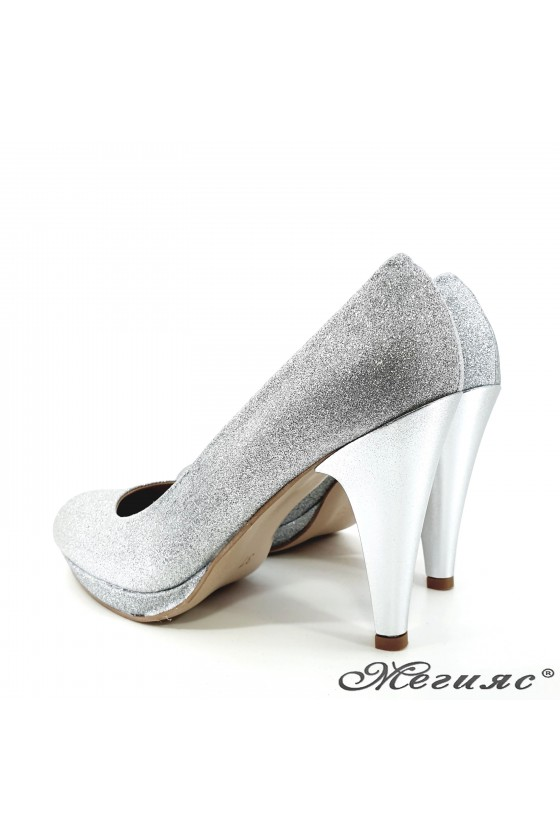 520 Lady shoes silver high heel