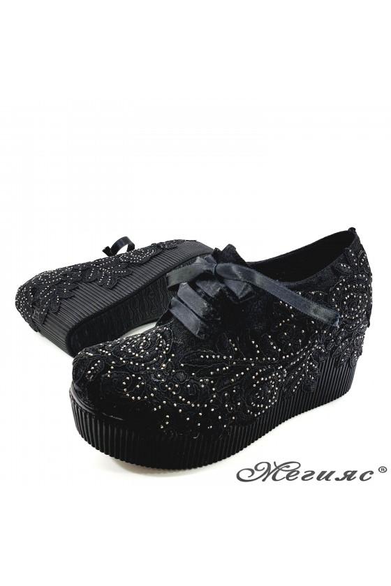 Дамски обувки с дантела черни 512-07