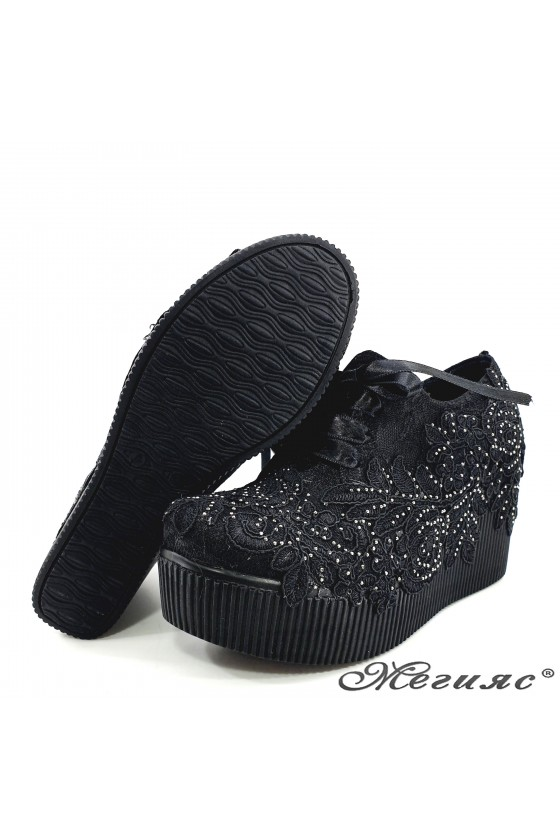 Lady platform shoes black textile 512-07