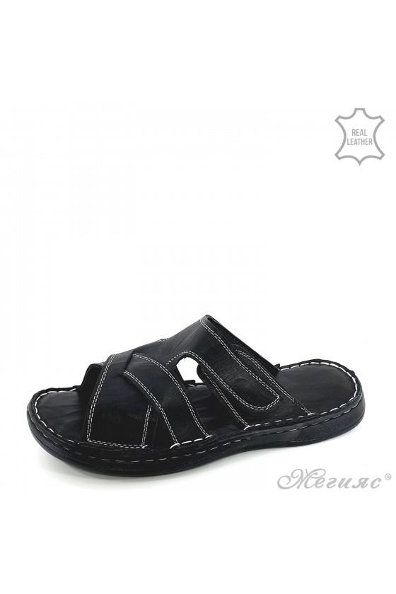 Men flippers black leather 202