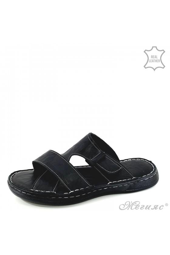 Men flippers black leather 203