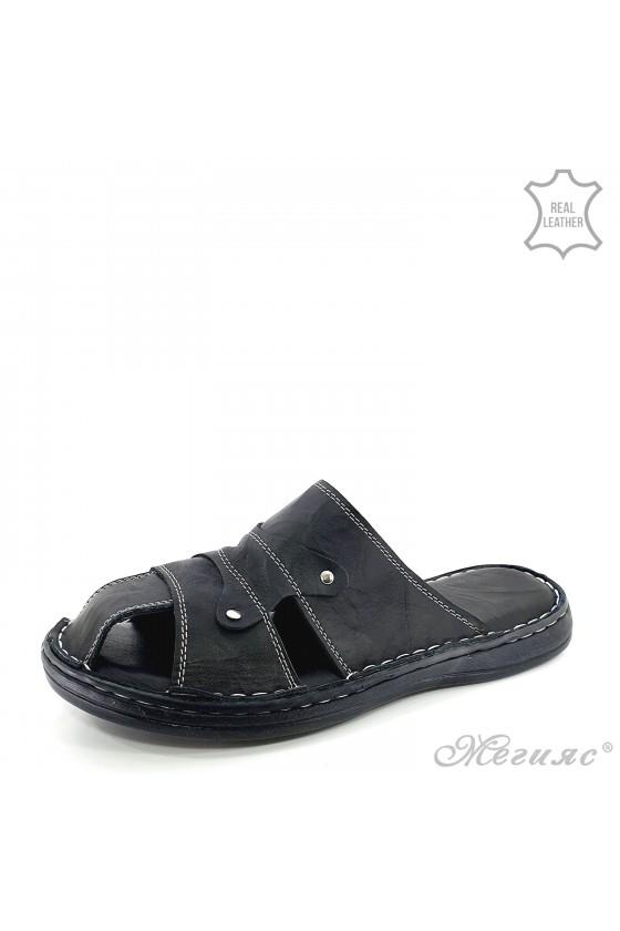 Men flippers black leather 204