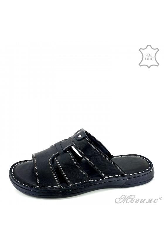 Men flippers black leather 201