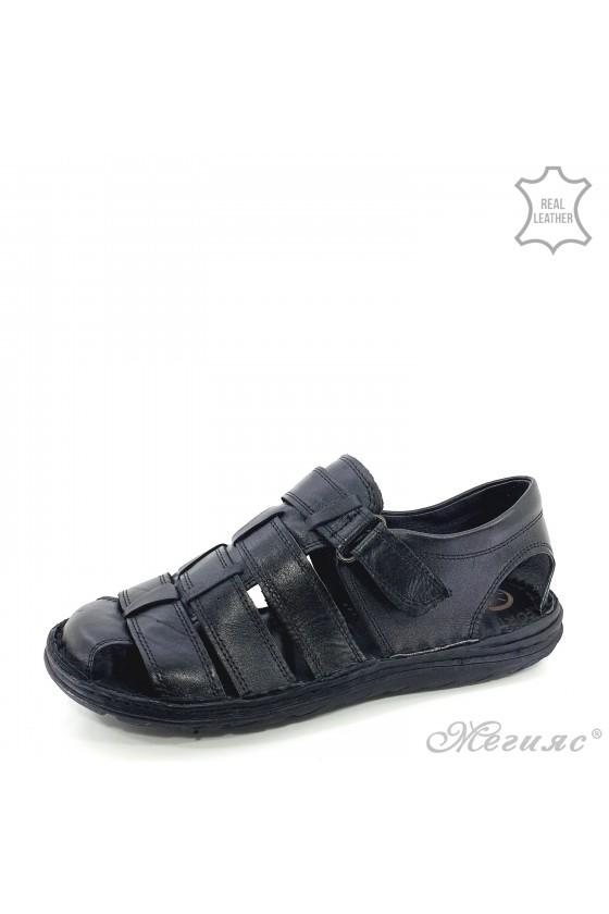 Men sandals black leather 018