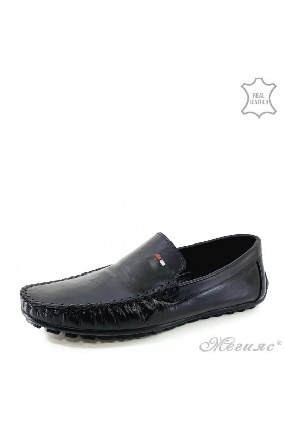 Men shoes black leather 01