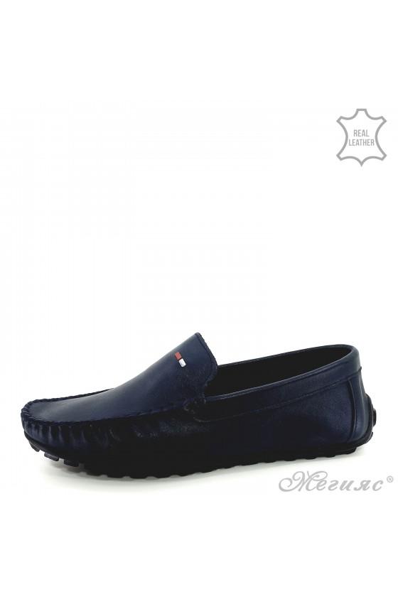 Men shoes blue leather 02