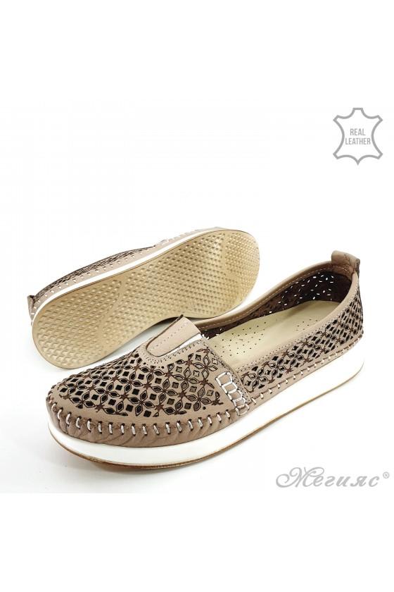 Дамски ортопедични обувки от естествена кожа бежови 18
