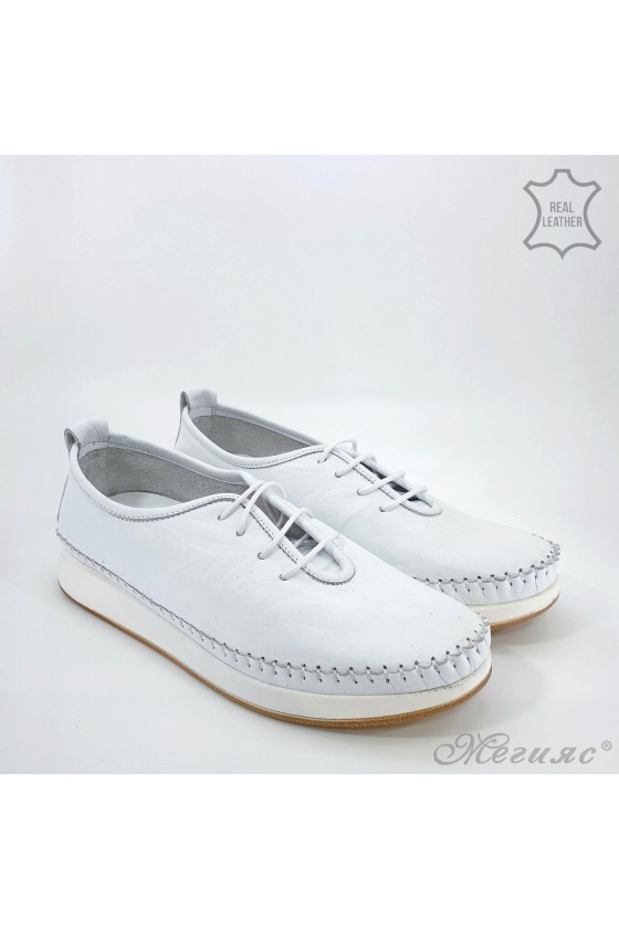 Lady shoes white leather 02