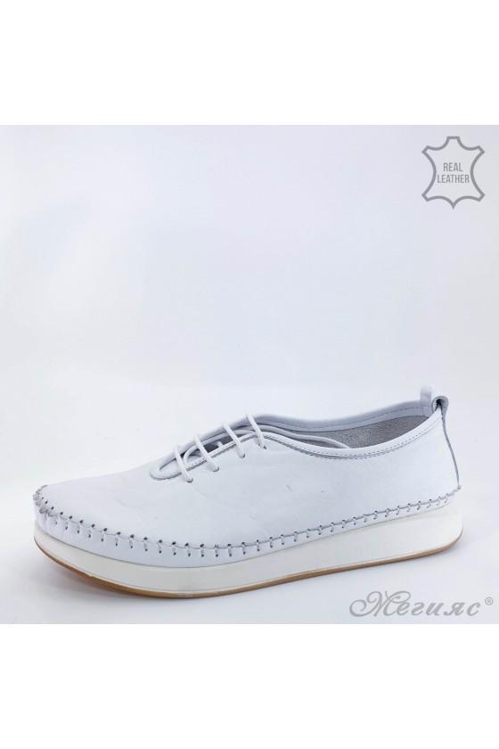 Дамски обувки от естествена кожа бели 02