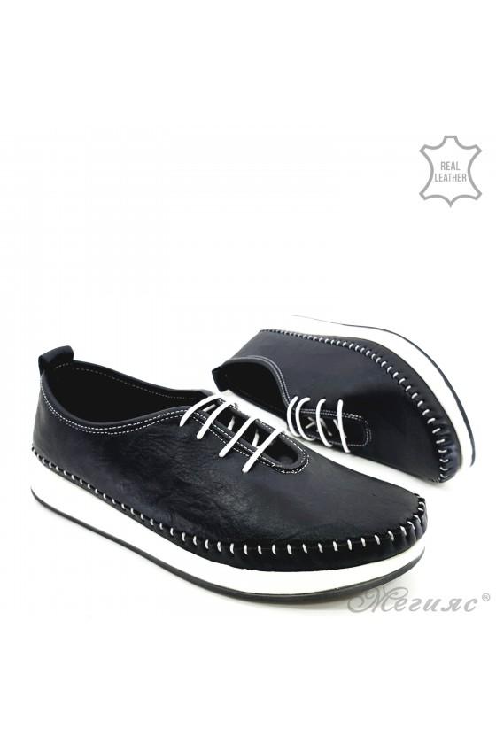 Дамски обувки CAN от естествена кожа черни 02