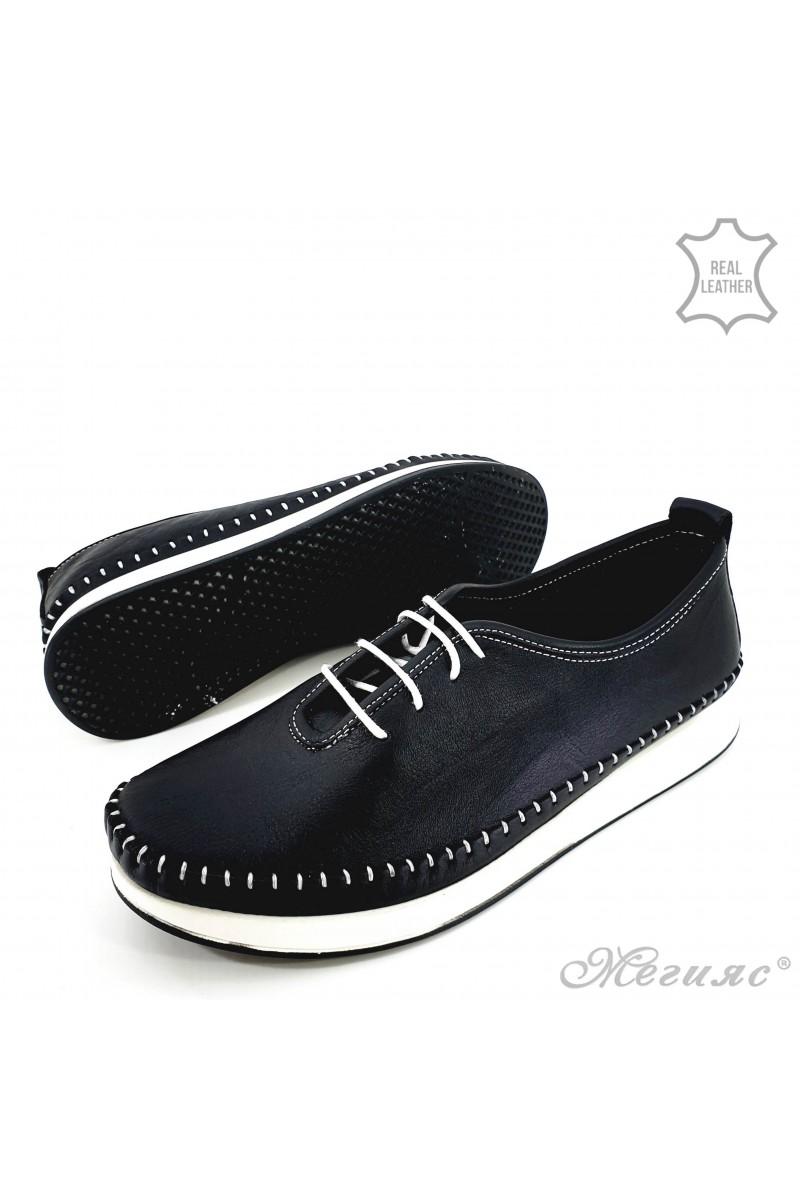 Дамски обувки от естествена кожа черни 02