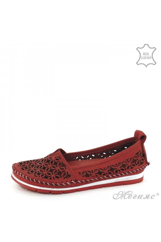Дамски обувки CAN 68 червени от естествена кожа ежедневни