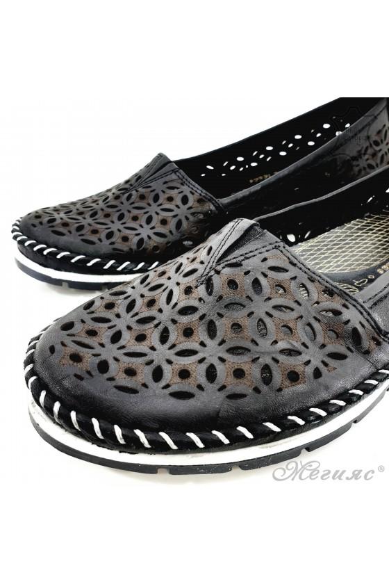 Дамски обувки от естествена кожа черни 68