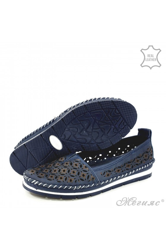 Lady shoes blue leather 68