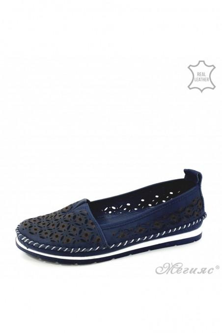 Дамски обувки от естествена кожа сини 68